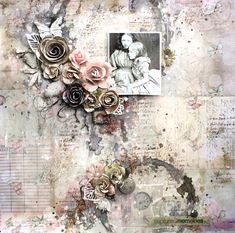 Captured Memories ~ Softly colored mixed media heritage page.