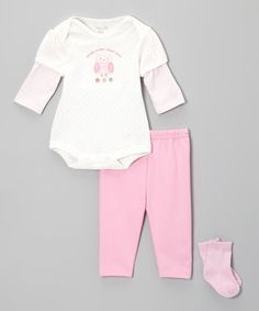 Take a look at this trés beau Layette  Pink 'What's Cuter Than Me?' Owl Bodysuit Set on zulily today!