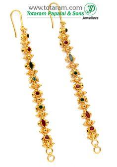 22 Karat Gold Ear Matiz with Ruby & Emerald - 1 Pair<br /> Gold Jhumka Earrings, Jewelry Design Earrings, Gold Earrings Designs, Gold Jewellery, Fashion Jewellery, Jewlery, Women's Fashion, Ear Chain, Antique Jewellery Designs