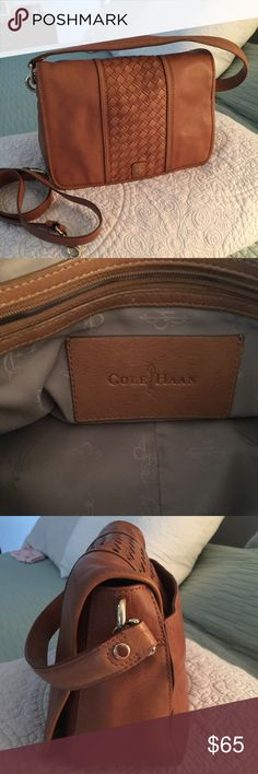 """Authentic Cole Haan Handbag Authentic Cole Haan leather handbag with shoulder strap and detachable cross body strap (which does have one extra hole for length adjustment) gently used but in great shape with multiple interior organizational pockets and back slip pocket; magnetic closure; 11xLx7""""Hx4""""W Cole Haan Bags Shoulder Bags"""