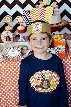 4 Crafty Kids Chevron Thanksgiving, Happy Thanksgiving, Indian Hat, Turkey Shirt
