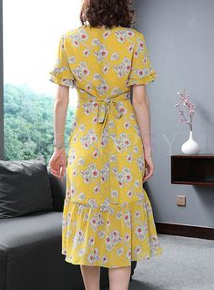Street Chiffon Floral Print A Line Dress - Dresses Modest Dresses, Simple Dresses, Cute Dresses, Skater Dresses, A Line Dresses, Floral Dresses, Floral Chiffon, Chiffon Dress, Women's Fashion Dresses