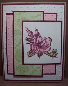 Color challenge card, pink pirouette, real razzleberry and kraft.  Love the layout on this one too by Dara