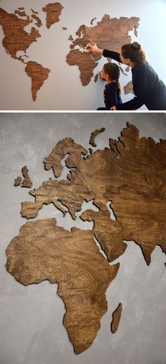 This wood world map is slightly raised off the wall to add dimension to your room and help warm up your space.