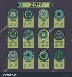 Calendar 2017. Vintage Decorative Colorful Elements. Ornamental Floral Oriental Pattern, Vector Illustration. Islam, Arabic, Indian, Turkish, Pakistan Chinese Ottoman Motifs - 520691659 : Shutterstock