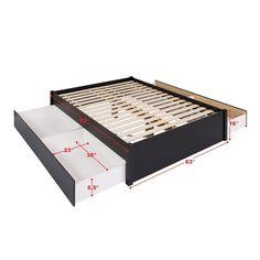 Diy Platform Bed, Queen Platform Bed, Upholstered Platform Bed, Bed Frame With Storage, Under Bed Storage, Bed With Drawers, Large Drawers, Grey Headboard, Wood Beds