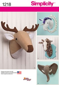 Add these plush stuffed animal heads to any room for a fun decoration. Pattern includes trophy elephant, deer, giraffe and unicorn animal heads.