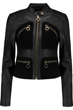 MICHAEL MICHAEL KORS Suede-Paneled Leather Jacket. #michaelmichaelkors #cloth #jacket