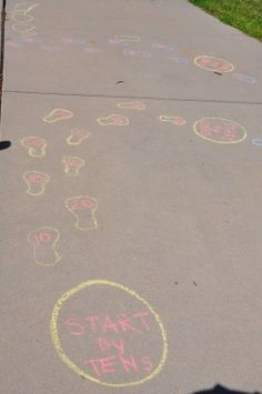 Use sidewalk chalk to trace footprints & kids call out letters, numbers, etc. as they walk