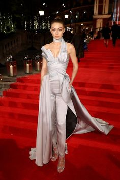 """Gigi Hadid in Atelier Versace - After Donatella Versace presented her the International Model of the Year award, Gigi Hadid had to fight back tears as she thanked fashion photographer Bruce Weber and stylist Carine Roitfeld for helping launch her career as well as the millions of fans whosupported her through the years. """"Thank you for inspiring me, and for teaching me to look beyond, and for being the most amazing industry I could ever ask to be a part of,"""" she said. """"You guys are a dream…"""