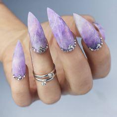 Amethyst nails nails anyone? Tag someone who would rock these! Amethyst nails nails anyone? Tag someone who would rock these! Cute Acrylic Nails, Glue On Nails, Fun Nails, Swarovski Nails, Crystal Nails, Coffin Nails, Stiletto Nails, Gorgeous Nails, Pretty Nails