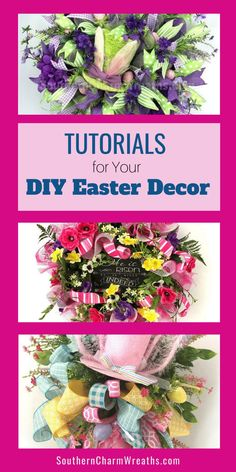 Let's make Easter Decor for your home decorations or to sell for profit.  My tutorials are perfect for your DIY Easter decorating projects.  Each tutorial gives you step by step instructions and VIDEO demonstrations that guides you through the process and helps to save you crating time! Farmhouse Table Centerpieces, Tabletop Christmas Tree, Artificial Flower Arrangements, Wreath Supplies, Diy Easter Decorations, Good Tutorials, Wreath Tutorial, Easter Wreaths, Deco Mesh Wreaths
