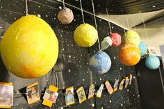 What a great paper mache solar system at this outer space boy birthday party! See more party ideas at CatchMyParty.com. #boybirthday