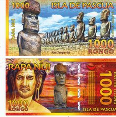 2011EASTER ISLAND POLYMER/PLASTIC NOTE 1000 RONGO, TRIBES MAN/STONE HEADS picclick.com