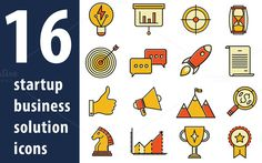 16 Startup business solution icons by Iconika on @creativemarket