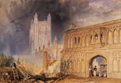 Joseph Mallord William Turner 'Malvern Abbey and Gate, Worcestershire', c.1830 - Watercolour and scraping out on paper -  Dimensions Support: 299 x 428 mm -  © Manchester City Galleries