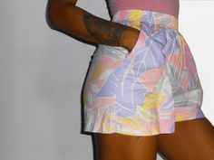 Floral Print Shorts/ Pastel Goth/ High Waisted Shorts/ Pastel Shorts/ Pink Shorts/ Beach Shorts/ Seapunk/ 80s Shorts/ Daisy Dukes/ Jungle by BannedFromTV on Etsy https://www.etsy.com/listing/186698034/floral-print-shorts-pastel-goth-high