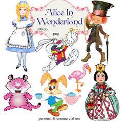 Clip Art:  Alice In Wonderland Transparent png Digital Files    no. 103