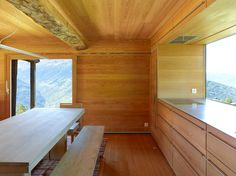 View full picture gallery of TLM, Transformation D'un Grenier Prefab Cabins, Prefab Homes, Rustic Contemporary, Contemporary Interior, Cottage Design, House Design, Architecture Design, Weekend House, Cabin Kitchens