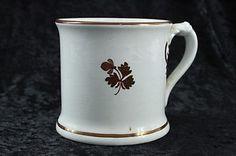 Vintage ironstone pottery Anthony Shaw shaving mug with tea leaf pattern copper lustre decoration.