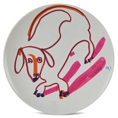 Artwork by David Hockney, Untitled (Dog), Made of Marker on Texas Ware plastic plate