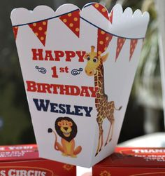 Personalized Circus Popcorn Boxes for Kids Birthday Circus Favors. $33.75, via Etsy.