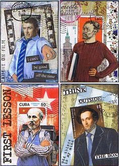 "I promised to make more Postage People ATCs, and here they are! Did you ever wonder why James Stewart almost always played ""good"" character. Altered Books, Altered Art, Postage Stamp Design, Postage Stamps, Graphic Design Lessons, Artist Card, Project Life Cards, Envelope Art, Postcard Art"