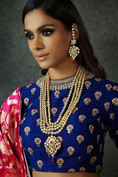 Raani haar, artificial jewellery , coblalt blue blouse