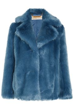 Blue faux fur Button fastenings through front 70% modacrylic, 30% acrylic; lining: 97% polyester, 3% elastane Dry clean Designer color: Cadet  Imported