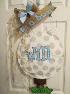 Burlap Door Hanger Golf Ball on Tee Baby Door by nursejeanneg, $38.00