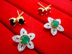 6 in 1 Cute Flower Changeable Studded Zircon Earrings - GREEN
