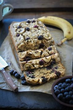 Blueberry Oatmeal Blender Banana Bread (Flourless) | TheRoastedRoot.net #glutenfree