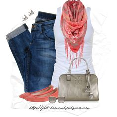 """Coral + Metallics"" by jill-hammel on Polyvore"