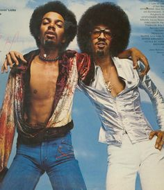 The Brothers Johnson is a band consisting of Black American musicians and brothers George aka 'Lightnin' Licks' and Louis E. 70s Music, I Love Music, Music Icon, Soul Music, Afro, 70s Funk, Jazz Funk, Divas, Funk Bands