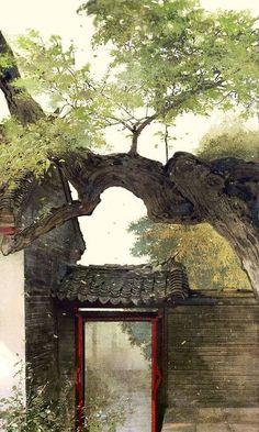 Old gate, watercolor illustration, Asian Asian Landscape, Fantasy Landscape, Landscape Art, Fantasy Art, Japanese Painting, Japanese Art, Art Chinois, Art Asiatique, Art Japonais
