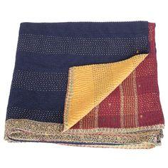 kantha silk cotton sari blanket surya_fair trade india