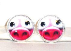 Ohrstecker Schwein Tiere Damen Ohrringe Ohrschmuck Modeschmuck Rosa Glas