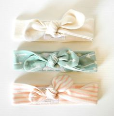 ORGANIC baby knotted headbands A set of three by luckypalmtree