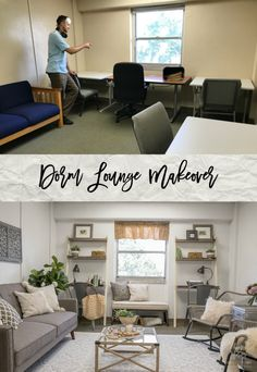 Come see this beautiful dorm lounge makeover! This ugly and drab dorm room was transformed into a beautiful and functional space using affordable products by Better Homes & Gardens. Bedroom Organization Diy, Diy Wall Decor, Home Decor, Hacks, Dorm Room, Living Room Decor, Lounge, Interior Design, Better Homes