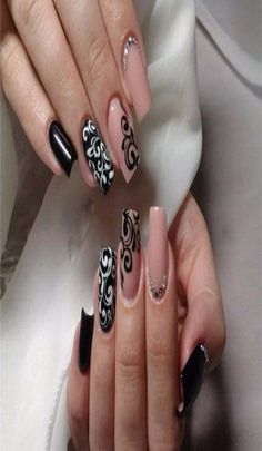 Any coquette will like this stylish manicure. Each nail itself is a separate composition, and all together are the expensive . Great Nails, Fabulous Nails, Cool Nail Art, Gorgeous Nails, Simple Nails, Latest Nail Designs, Best Nail Art Designs, Cherry Blossom Nails, Nail Art Design Gallery