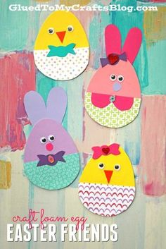Craft Foam Egg Shapes Turned Adorable Easter Friends - Kid Craft #kidcrafts #gluedtomycrafts #easter