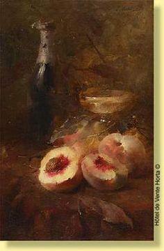 Frans Mortelmans -Nature morte aux pêches et au champagne