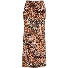 Jane Norman Animal Print Maxi Skirt (27 QAR) ❤ liked on Polyvore featuring skirts, multi, long brown skirt, jane norman, maxi skirt, ankle length skirt and animal print maxi skirt