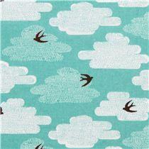 Tissu bio Free As A Bird par Cloud 9 turquoise, oiseaux
