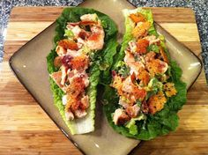 "Chicken Caesar Lettuce Wraps with Garlic Parmesan ""Croutons"" (S)"