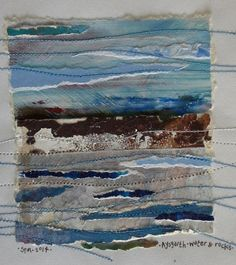 Sue Marsden - Textile artist.  The inspiration for my work is often the rural landscape in Cheshire and from hill walking expeditions and travelling, both in Britain and abroad. I was brought up in South Wales with frequent visits up into the Brecon Beacons. Thread Painting, Fabric Painting, Fabric Art, Textiles Sketchbook, Art Sketchbook, Art Textile, Textile Artists, Landscape Art Quilts, Landscapes
