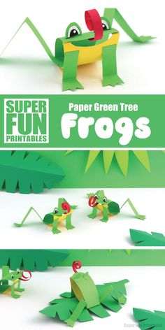 Green tree paper frog paper craft for kids. Use our printable template to create this adorable frog based on the Green Tree frog species from tropical North QLD #frogcraft #kidscrafts #papercraft #thecrafttrain #australiananimals #printables #printablecrafts #kidsactivities #superfunprintables #funkidscrafts