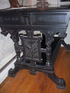 RARE Antique Victorian Ebonized Eastlake Aesthetic Movement Library Hall Table | eBay
