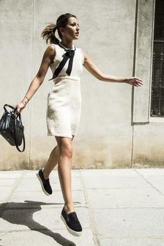 SCHOOL GIRL - Zara tweed sleeveless bow dress + Steve Madden black slip on sneakers + Saint Laurent small sac de jour black bag - Lovely Pepa by Alexandra