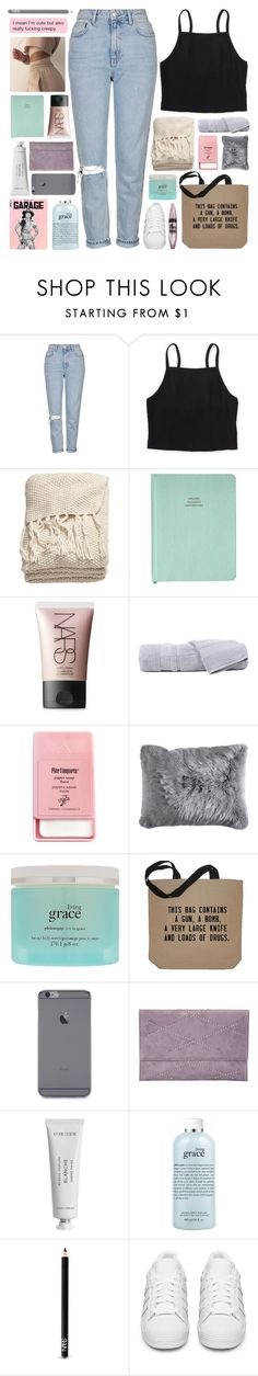 """""""100K !!! read d"""" by untake-n ❤ liked on Polyvore featuring Topshop, Aéropostale, H&M, NARS Cosmetics, Hamam, Pier 1 Imports, philosophy, Bungalow 20, Byredo and adidas Originals"""